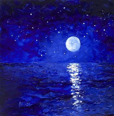 Sea Moon Full Moon Painting - Moon And Stars Painting by Jan Matson