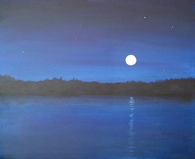 Moon And Stars Reflected Art Print by Denise   Hoff