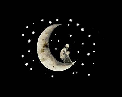 Digital Art - Moon And Stars T Shirt Design by Bellesouth Studio
