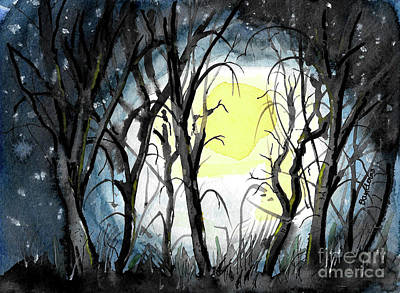 Painting - Moon And Trees by Terry Banderas