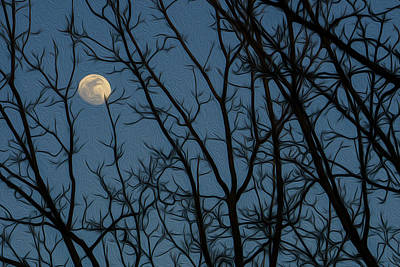 Moon At Dusk Through Trees - Impressionism Art Print
