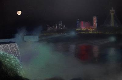 Painting - Moon At Niagara  by Michael Mrozik