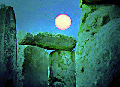 Photograph - Moon At Stonehenge  by Dennis Cox WorldViews