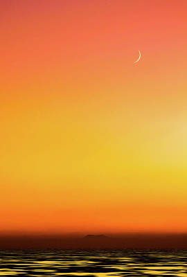 Photograph - Moon At Sunset by Marius Sipa