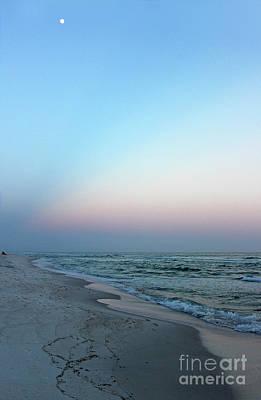 Photograph - Moon At Sunset On The Beach by Karen Adams