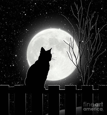 Moon Bath II Cat Contemplates The Full Moon Art Print by Tina Lavoie