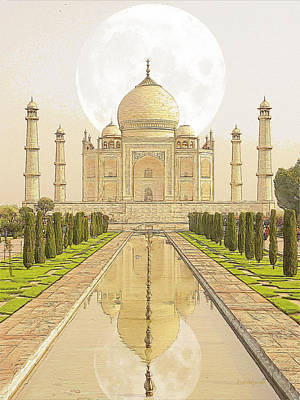 Photograph - Moon Behind The Taj Mahal by Ericamaxine Price