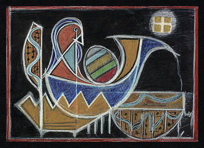 Visionary Art Drawing - Moon Boat Pouring by Kim Alderman