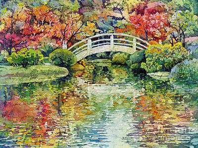Water Garden Wall Art - Painting - Moon Bridge by Hailey E Herrera