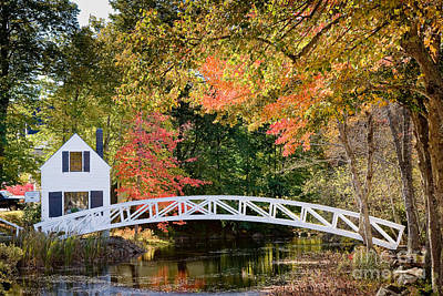 Somesville Photograph - Moon Bridge In Autumn by Susan Cole Kelly