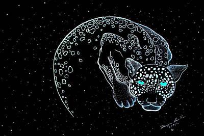 Hand Made Mixed Media - Moon-cat  by Dwayne  Hamilton
