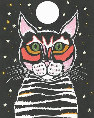 Moon Cat Art Print by Kathleen Sartoris
