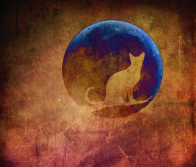 Digital Art - Moon Cat by Marianna Mills