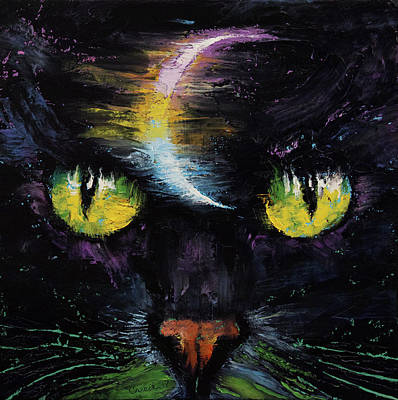 Lune Painting - Moon Cat by Michael Creese