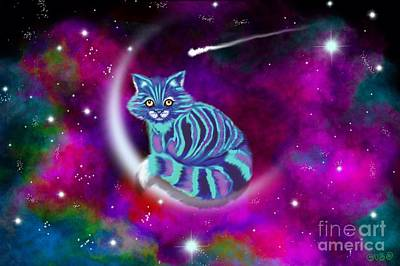 Digital Art - Moon Cat Universe by Nick Gustafson