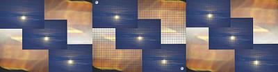 Photograph - Moon Clouds And Sunset Panel 3 by SC Heffner