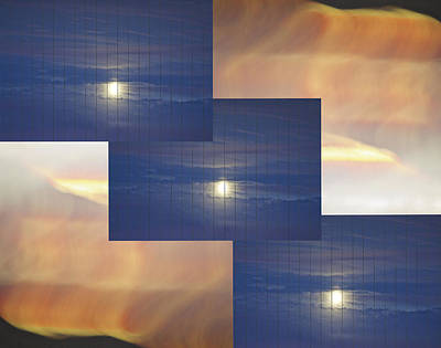 Photograph - Moon Clouds Sunset 2  by SC Heffner