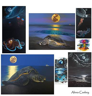 Caskey Wall Art - Painting - Moon Collage  by Alexa Caskey