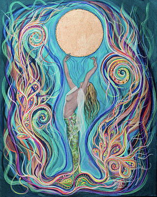 Angel Mermaids Ocean Painting - Moon Dance by Angel Fritz