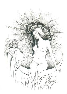 Drawing - Moon Dew by Anna Ewa Miarczynska