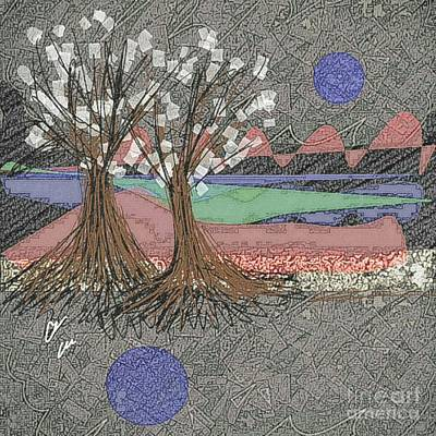 Mixed Media - Moon Dusk by Ann Calvo