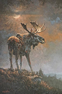 Painting - Moon Dusted Moose by Mia DeLode