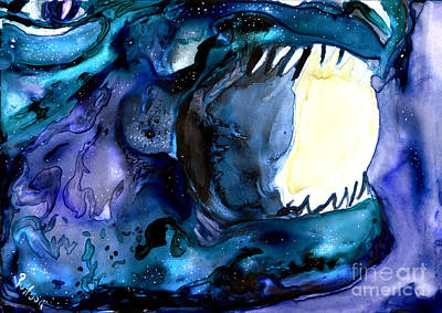 Painting - Moon Eater Dragon Lunar Eclipse by D Renee Wilson