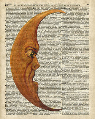 Halloween Artwork Mixed Media - Moon Face Dictionary Art by Jacob Kuch