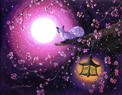 Cherry Blossoms Painting - Moon Glow Lantern Glow by Laura Iverson