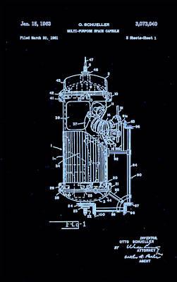 Moon Glow Space Capsule Patent 1  Art Print by Arturo Granata