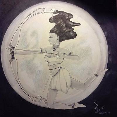 Warrior Goddess Drawing - Moon Goddess  by Chantelle Christie