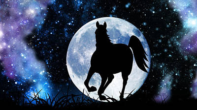 Digital Art - Moon Horse by Larah McElroy