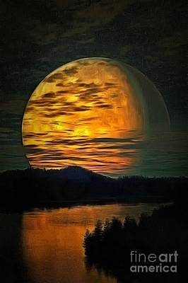 Broadcast Painting - Moon In Ambiance by Catherine Lott