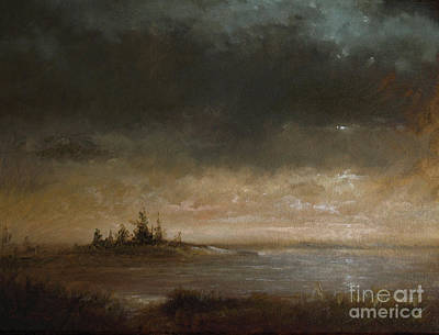 Maine Painting - Moon In Maine by Larry Preston