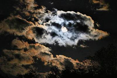 Photograph - Moon In Patchy Clouds by Kathryn Meyer