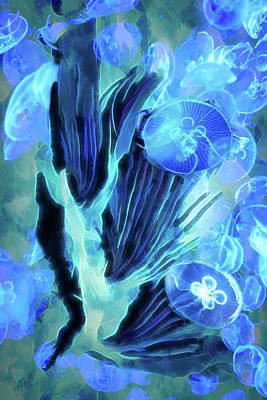 Digital Art - Moon Jellies 4 by Lisa Yount