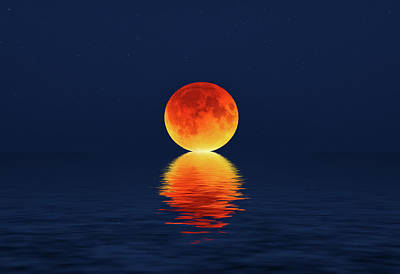 Photograph - Moon Kissing The Sea by Justin Kelefas
