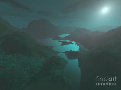 Moon Light At The Mountains Art Print by Gaspar Avila