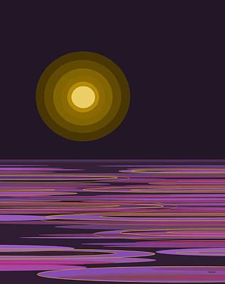 Digital Art - Moon Light Bay -  Purples by Val Arie