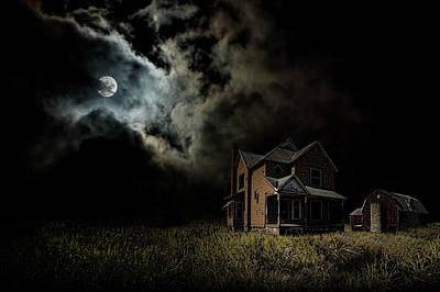 Photograph - Moon Light Falls On A West Michigan Farm by Randall Nyhof