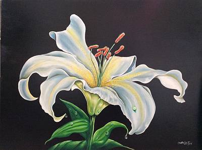 Painting - Moon Light Lilly by Owen Lafon