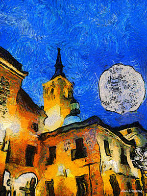 Roof Top Digital Art - Moon Light Night In Madrid Tribute To Vincent by Alan Armstrong