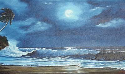 Moon Light Night In Paradise Art Print by Lloyd Dobson