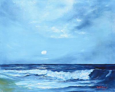 Moon Light Night Wave Art Print by Lloyd Dobson