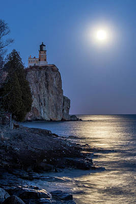 Photograph - Moon Light On Split Rock by Paul Freidlund