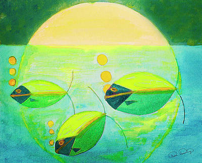 Painting - Moon Light Swim by Dee Browning