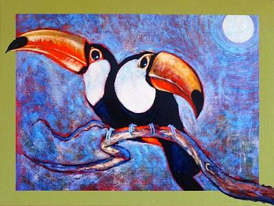 Painting - Moon Light Toucans Two by Charles Munn