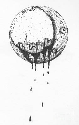 Drip Drawing - Moon Lights by Michael Miller