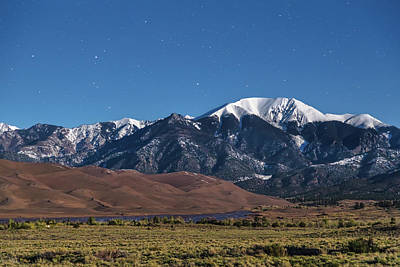 Moon Lit Colorado Great Sand Dunes Starry Night  Art Print by James BO Insogna