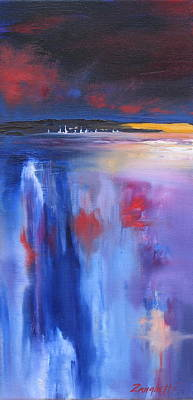 Abstract Seascape Painting - Moon Lit by Laura Lee Zanghetti